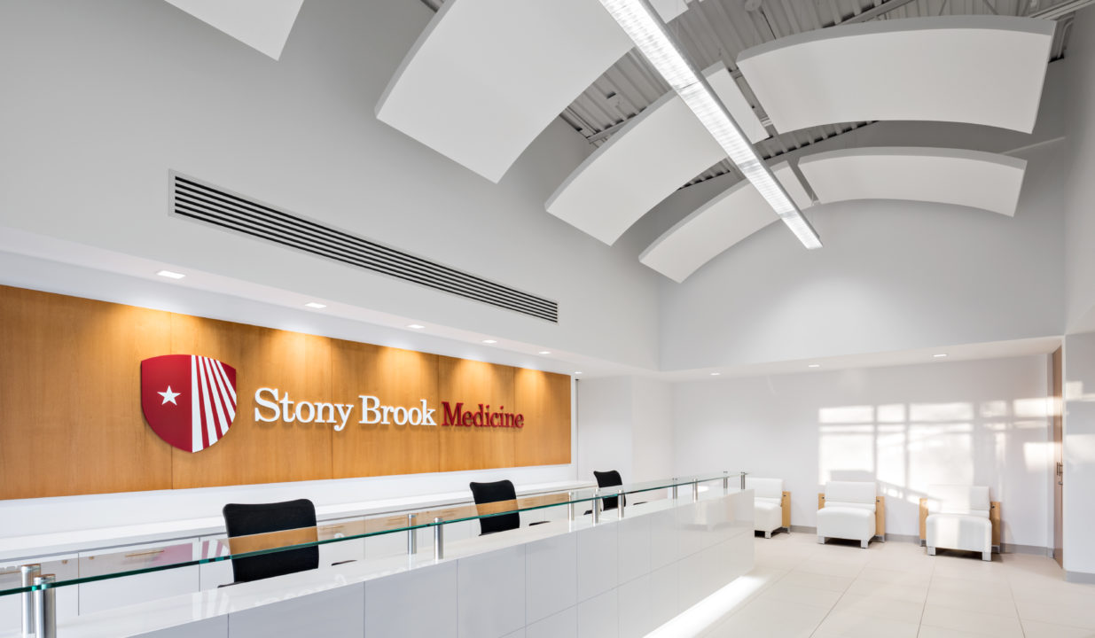 Acoustic ceiling panels in reception area of Stony Brook Medicine